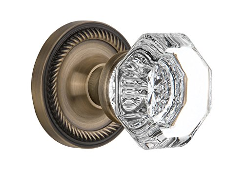 Nostalgic Warehouse BN40-ROPWAL-AB Rope Rosette with Waldorf Knob Privacy, Antique Brass
