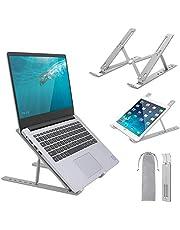 Yinleader Stativ för bärbar dator, bärbar datorstativ, 6 nivåer av höjdjustering, multivinkel vikbar aluminium höjare kompatibel med MacBook, Pad, Lenovo, Dell, HP All 7–17 tums surfplatta – silver