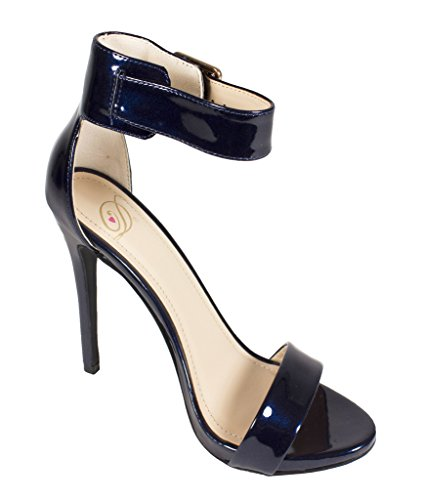 CANTER! Womens Classic Open Toe Ankle Strap Stiletto High Heel Sandals Deep Blue Patent Leatherette iKAWf