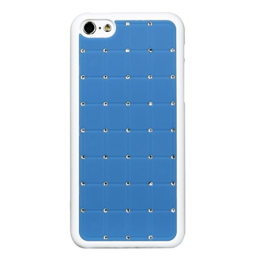 Iphone 5c LUXURY CRYSTAL Cross Diamond Blue Case Bling Hard Cover with White Frame For APPLE Iphone 5C by G4GADGET®