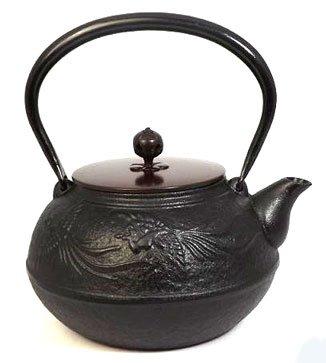 Naubu Iron Kettle Tetsubin Chinese phoenix Copper Lid Black 1.3L(japan import)