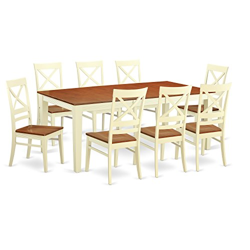 East West Furniture QUIN9-WHI-W 9-Piece Dining Room Table Set, Buttermilk/Cherry Finish