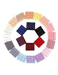 22 Pieces Women Ladies Bra Strap Assorted Colors 3-Hook 3 Rows Spacing Bra Extender Extension Hooks Strap (Color Random)