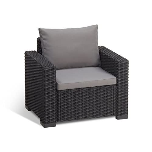 New Keter California All Weather Outdoor Patio Armchair with Cushions in a Resin Plastic Wicker Pattern, Graphite/Cool Grey for cheap