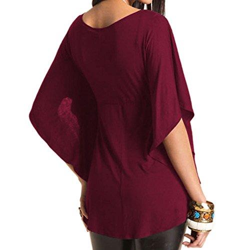 Evase Tunique Casual Simple Chemise Rouge Sexy Uni Shirt Grand Femmes V LAEMILIA Hauts Manche Taille Courte Blouse Col PXqgxO6Anw