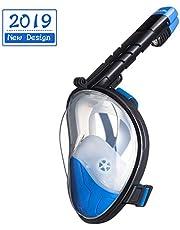 Dorlle Schnorchelmaske Vollmaske,Faltbare Tauchmaske,Anti-Fog Anti-Leak müheloses Atmen Vollgesichtsmaske,mit 180 Grad Blickfeld und Kamerahaltung für Kinder und Erwachsene