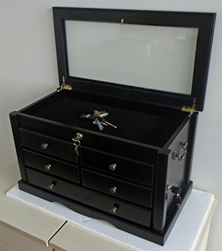 Black Finish Large Knife Display Case Storage Cabinet With S