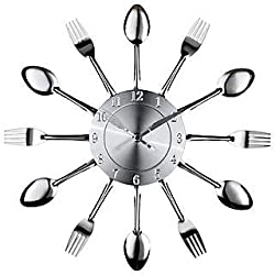 Mainstays Kitchen Decor Utensils Wall Clock Zinc 15 inches