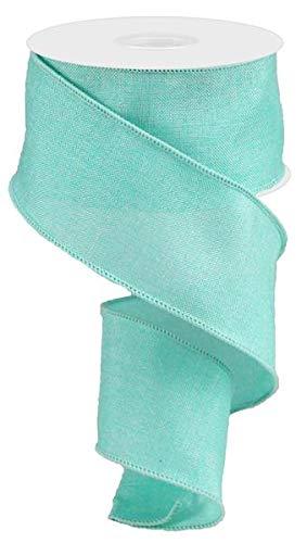 Aquamarine Ribbon - Shiny Solid Canvas Wired Edge Ribbon, 10 Yards (Aquamarine, 2.5