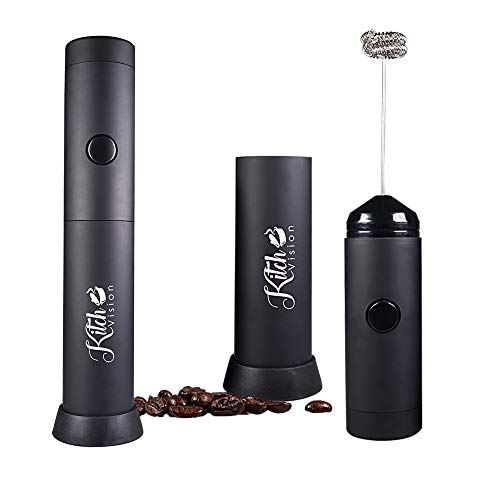 KitchVision Mini Handheld Milk Frother - Battery Operated Electric Foam Maker | Includes Kitchen Stand