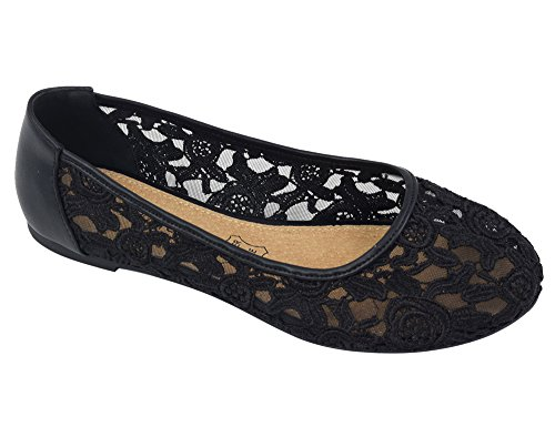 Greatonu Women Shoes Cut Out Slip On Synthetic Lace Ballet Flats (39 EU/8 US, Black) -