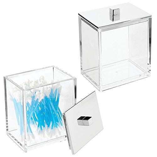 - mDesign Modern Square Bathroom Vanity Countertop Storage Organizer Canister Jar for Cotton Swabs, Rounds, Balls, Makeup Sponges, Bath Salts - 2 Pack - Clear/Chrome