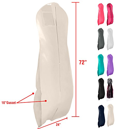 """Gusseted Gown Garment Bag for Women's Prom and Bridal Wedding Dresses - Travel Folding Loop, ID Window- 72"""" x 24"""" with 10"""" Tapered Gusset - Cream - by Your Bags by Your Bags"""