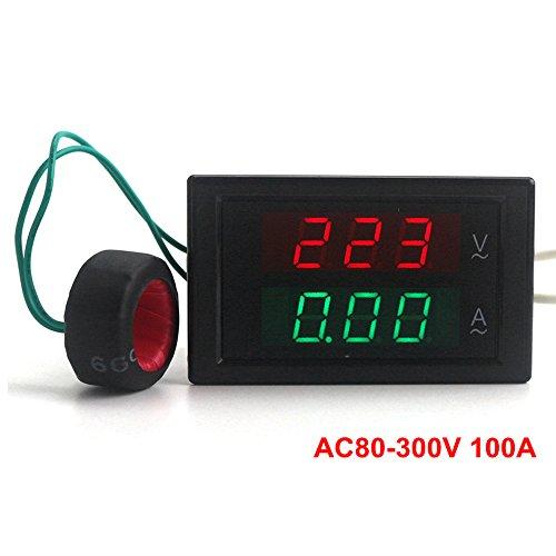 Analog Amp Meter - KETOTEK Digital Voltage Ampere Multimeter 110V/220V AC 80V-300V/100A Volt Current Meter Voltmeter Ammeter Gauge Sense Transformer LED Dual Panel Display Detector+Current Sense transformer