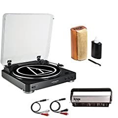 Add a piece of nostalgia to your home audio setup with the classic aluminum design of the Audio-Technica AT-LP60 USB Fully Automatic Belt-Drive Stereo Turntable. This economical and convenient turntable features a professional aluminum platte...