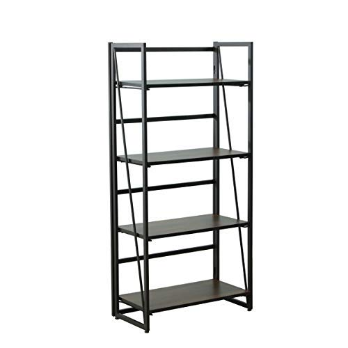 Top Unikes Folding Bookcase Shelf Organizer, Bookshelf No Assembly 4 Tier for Home Office Storage Cabinet Industrial Standing Racks