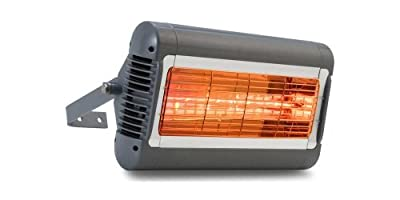 Solaira Alpha Series 16 In. Electric Patio Heater, 1500 Watts 240 Volts, Silver/Gray