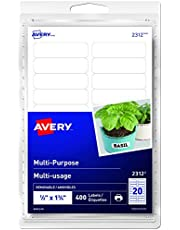 "Avery Print Or Write Multi-Purpose Removable Labels, 1/2"" X 1-3/4"", 400 Labels (2312)"