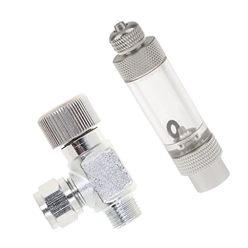 Homyl Set of 2, Aquarium CO2 Bubble Counter Valve Regulator Diffuser Single-Head with One Way Aluminum Precise CO2 Needle Valve Regulator, for Aquarium Plant Tank