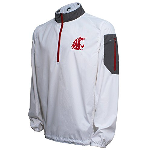 Crable NCAA Washington State Cougars Men's Lightweight Windbreaker Pullover, White/Cardinal, - White Cardinal Pullover