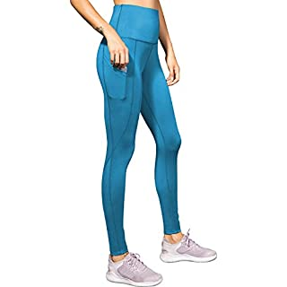 LEICHR Women's High-Waisted Leggings, Soft Yoga Pants with Pockets, Non-See Through 4-Way Stretch Comfort Workout Gym Leggings【Blue】