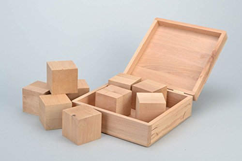 - Handmade Alder Wood Craft Blank Box With Cubes For Decoupage Or Painting