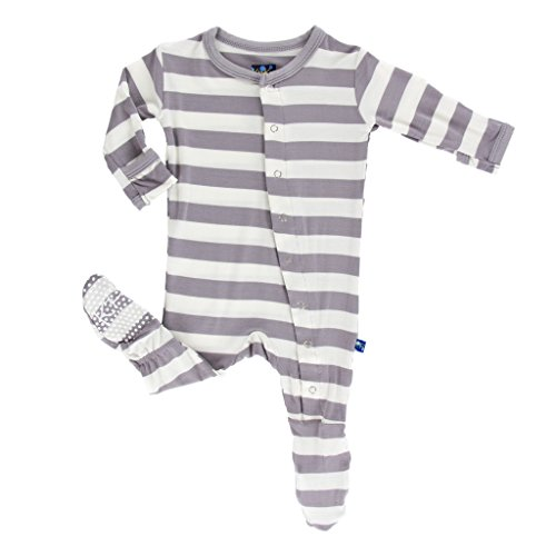 KicKee Pants Unisex Essentials Print Footie- Feather Contrast Stripe, Newborn