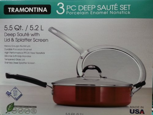 Tramontina 3 Piece Deep Saute Set w/ Lid & Splatter Screen (3 Piece Enamel)