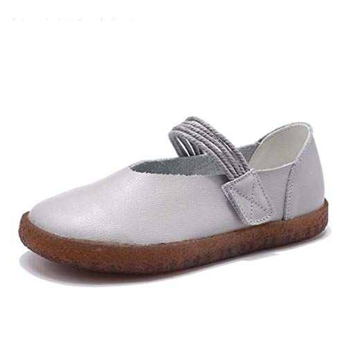 (Fay Waters Womens Mary Jane Flats Round Toe Slip on Ballet Flats Casual Elastic Band Ballerina Shoes Grey)