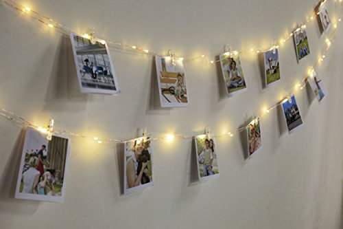 edola Mini Clip String Lights, Warm White Flexible Copper Wire LED Photo Clip String Lights Battery Powered with Remote 50 Photo Clips for Hanging Photos, Cards and Artwork -33ft, 100 LEDs (Mini Clip Led Light)