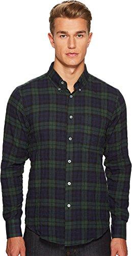 Naked & Famous  Men's Soft Tartan Check Shirt Navy/Green Shirt (Canada Merchandise)