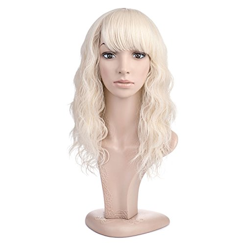 MelodySusie Mid Length Curly Wavy Wig for Women, 17 inches Hair Replacements Wig with Bang, Synthetic Fiber, Natural as Human Hair, for Daily Party Cosplay Costume, Wig Cap Included, Light Blonde -