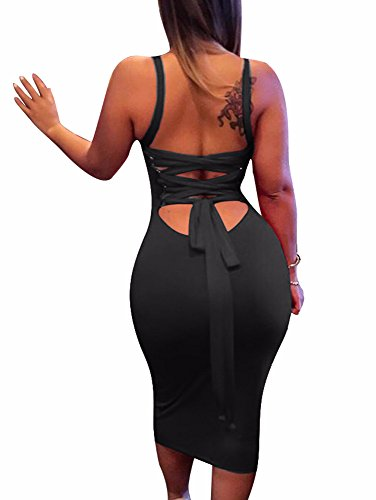 BEAGIMEG Women's Sexy Lace Up Backless Bodycon Midi Party Club Dress Black