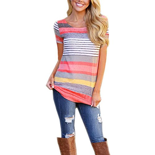 SELUXU Plus Size Blouse T Shirt Striped Casual Round Neck Tunic Tops