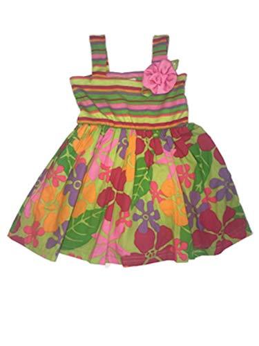 Infant Girls Green Flower & Stripes Sun Dress Floral Summer Dress 12M