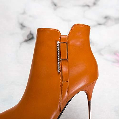 Dingxue Caramel Ma Color Mujer Terciopelo Ajunr Cm Botas Sexy De 10 Taladro Alto Transpirable Cortas Señaló Agua Zapatos UxafwqA6S