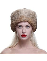 URSFUR Genuine Rabbit Fur Davy Crockett Hat Coonskin Cap with Raccoon Tail