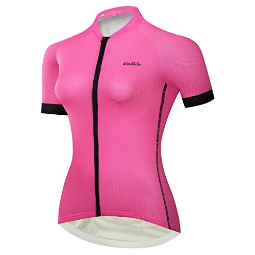 - Classic Bike Shirt Short Sleeve Cycling Jersey for Women Breathable Quick Dry Pink