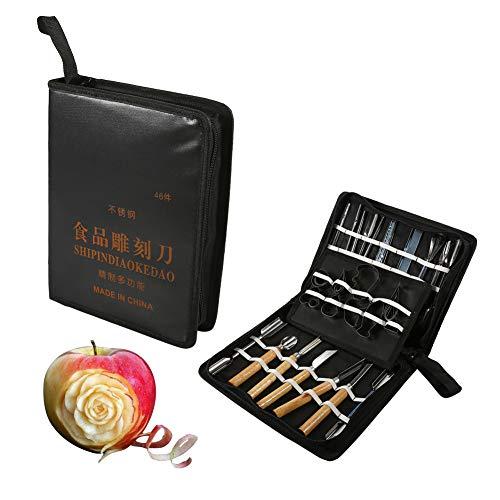1 Set 46Pcs Carving Tools Kit Portable Vegetable Fruit Food Chisel Chrome Steel Food Carving Knife For Kitchen Cutting Tools Kangsanli ()