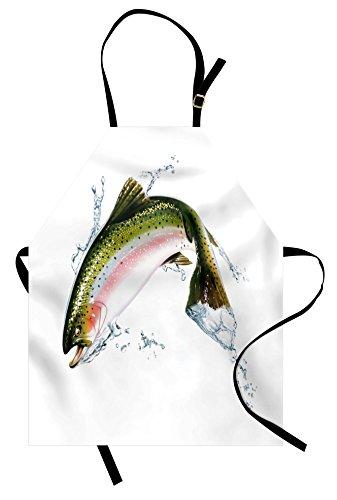 Ambesonne Fish Apron, Salmon Jumping Out of Water Making Splashes Cartoon Design Photorealistic Airbrush, Unisex Kitchen Bib Apron with Adjustable Neck for Cooking Baking Gardening, White - Fish Apron