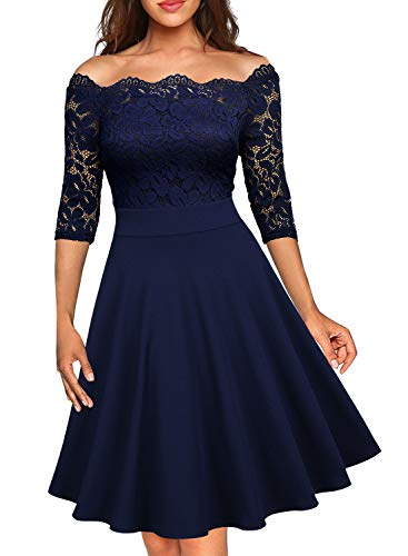 MISSMAY Women's Vintage Floral Lace Half Sleeve Boat Neck Formal Swing Dress, X-Large, Navy Blue