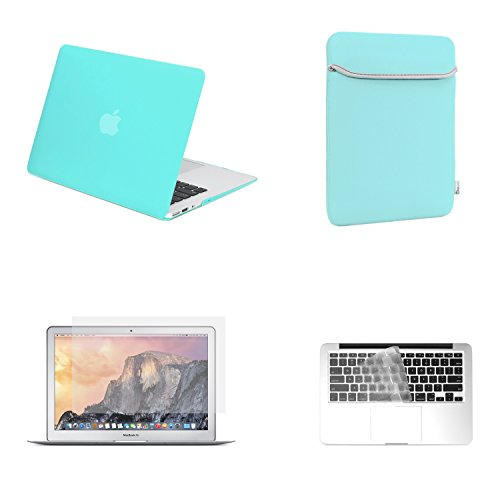 TopCase Rubberized Turquoise Blue Hard Cover with Matching Color Soft Sleeve Bag, Transparent TPU Keyboard Cover and Clear Screen Protector for 13-Inch Macbook Air