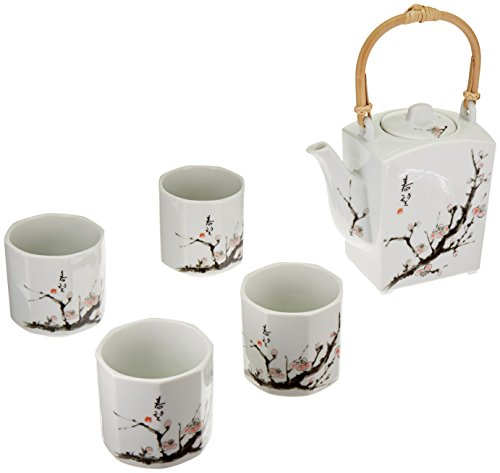 Happy Sales Japanese Cherry Blossom Tree Tea Set (1 pot & 4 (Japan Cherry Blossom)