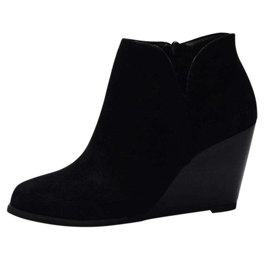 WUAI Women's Trendy Roman Low Wedge Heel Ankle Boots Casual Outdoor Side Zipper Short Bootis(Black,US 6/CN 36) by WUAI-Shoes