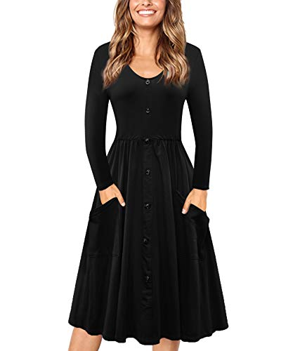 Long Sleeve Dress BIKATU Neck Patch Dresses Down Elastic Black Button Women's Cotton Waist Pocket V Casual a8q80B