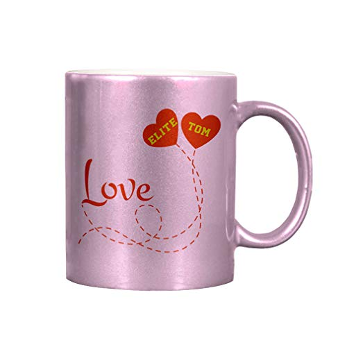 Personalized Custom Text Love two hearts Ballons Couple Romantic Ceramic Coffee Cup Metallic Mug - Pink