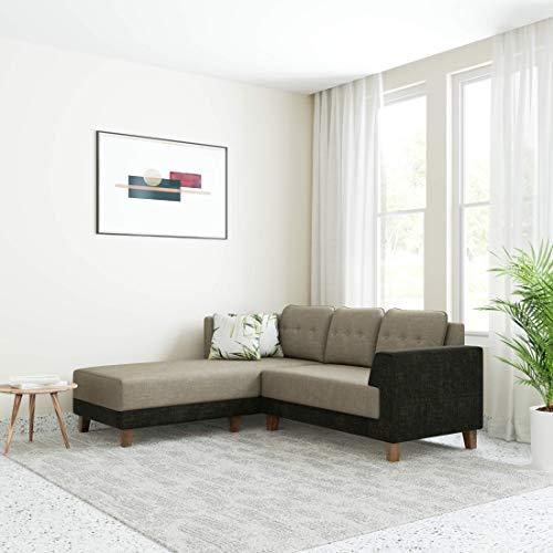 Amazon Brand – Solimo Alen Fabric 5 Seater LHS L Shape Sofa (Brown)