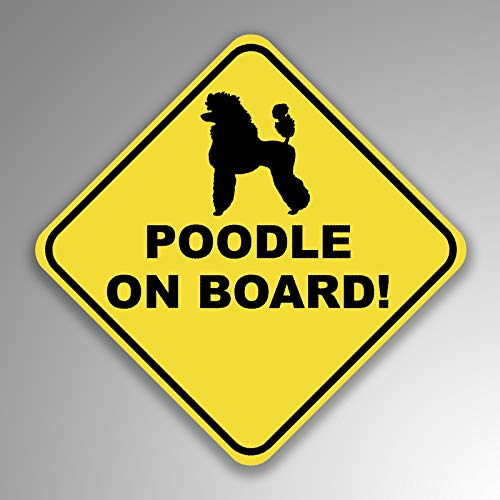 (JMM Industries Poodle On Board Vinyl Decal Sticker Car Window Bumper 2-Pack 4-Inches by 4-Inches Premium Quality UV Protective Laminate PDS1253)