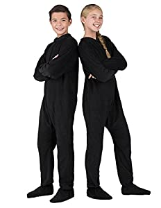 Footed Pajamas - Midnite Black Kids Fleece