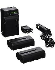 Neewer 2 Piezas 2600mAh Li-ion Batería de Reemplazo para Sony F550,Cargador con Adaptador(UE/EE.UU.)de Coche,para Luz LED CN-160 CN-216,Monitor Campo NW759 etc.
